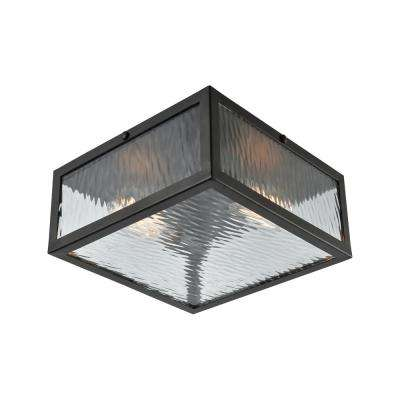 Placid 2-Light Oil Rubbed Bronze with Clear Ripple Glass Flushmount