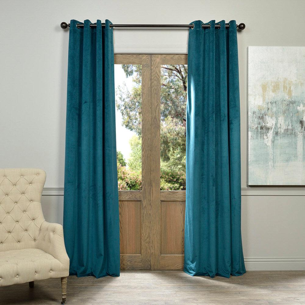 Exclusive Fabrics & Furnishings Blackout Signature Everglade Teal Blue Grommet Blackout Velvet Curtain - 50 in. W x 84 in. L (1 Panel)