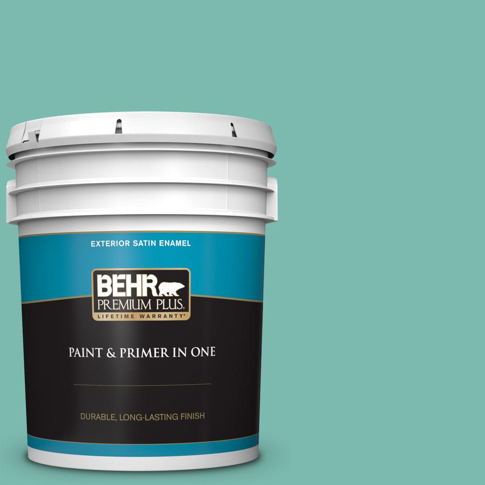 Behr Premium Plus 5 Gal 490d 5 Winter Surf Satin Enamel Exterior Paint And Primer In One