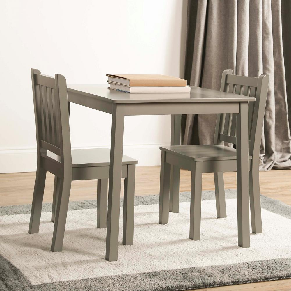 3 Piece Grey Kids Large Table And Chair Set