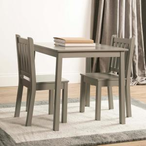 tot tutors 3 piece grey kids large table and chair set cl329 the home depot. Black Bedroom Furniture Sets. Home Design Ideas