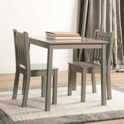 3-Piece Grey Kids Large Table and Chair Set