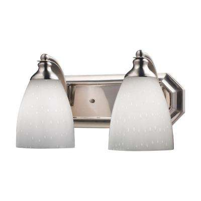 2-Light Satin Nickel Wall Mount Vanity Light
