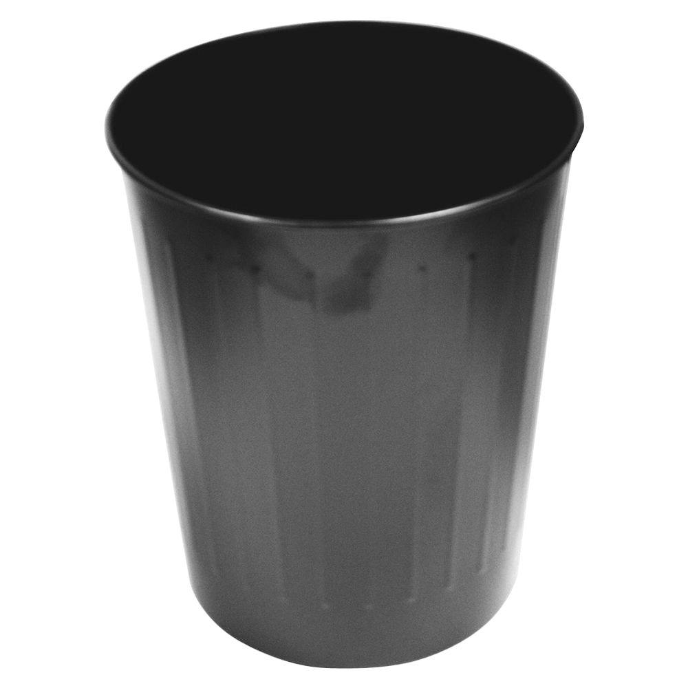 6 Gal. Black Round Steel Fire-Safe Trash Can