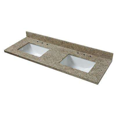 61 in. W x 22 in. D Granite Vanity Top in Giallo Ornamental with Double White Trough Basins