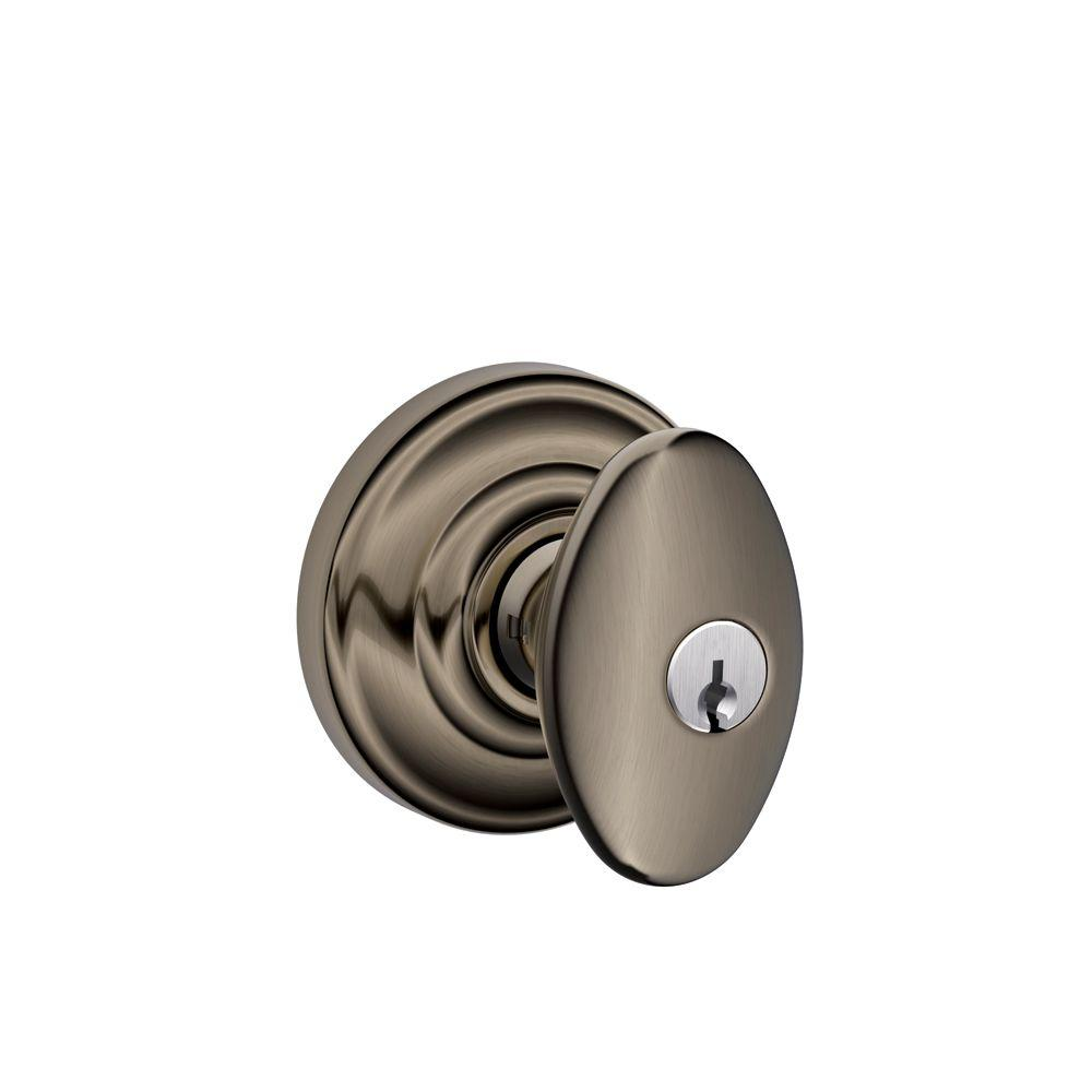 Andover Collection Antique Pewter Siena Keyed Entry Knob