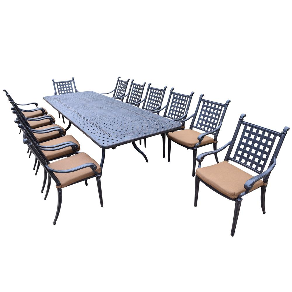 13 Piece Aluminum Outdoor Dining Set With Sunbrella Brown Cushions