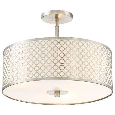 Dots 3-Light Brushed Nickel Semi-Flush Mount Light