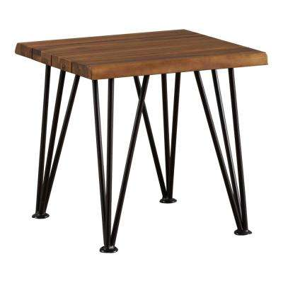 Alivia Rustic Metal Square Wood Outdoor Accent Table
