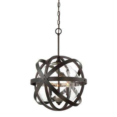 3-Light Outdoor English Bronze Hanging Pendant