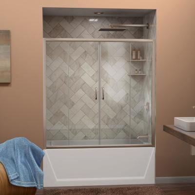 Visions 56-60 in. W x 0 in. D x 58 in. H Semi-Frameless Sliding Tub Door in Brushed Nickel