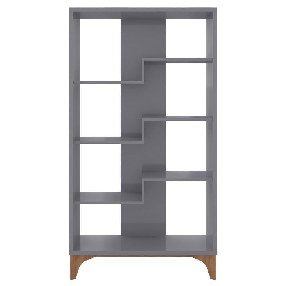 Watkins 64.96 in. Gray Faux Wood 4-shelf Cube Bookcase with Geometric Design