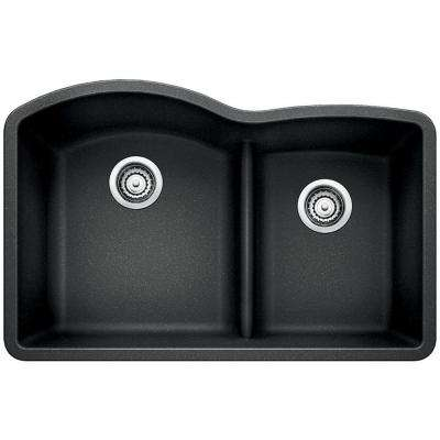 Diamond Undermount Granite Composite 32 in. Double Bowl Kitchen Sink in Anthracite
