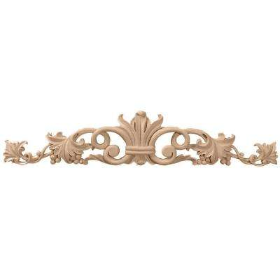 1 in. x 36 in. x 6-1/4 in. Unfinished Wood Cherry Large Marseille Center with Scrolls