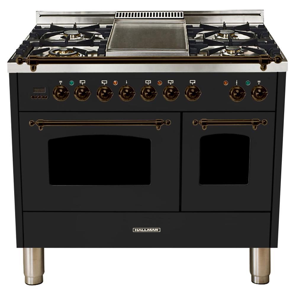 40 in. 4.0 cu. ft. Double Oven Dual Fuel Italian Range True Convection,5 Burners, LP Gas, Bronze Trim/Glossy Black