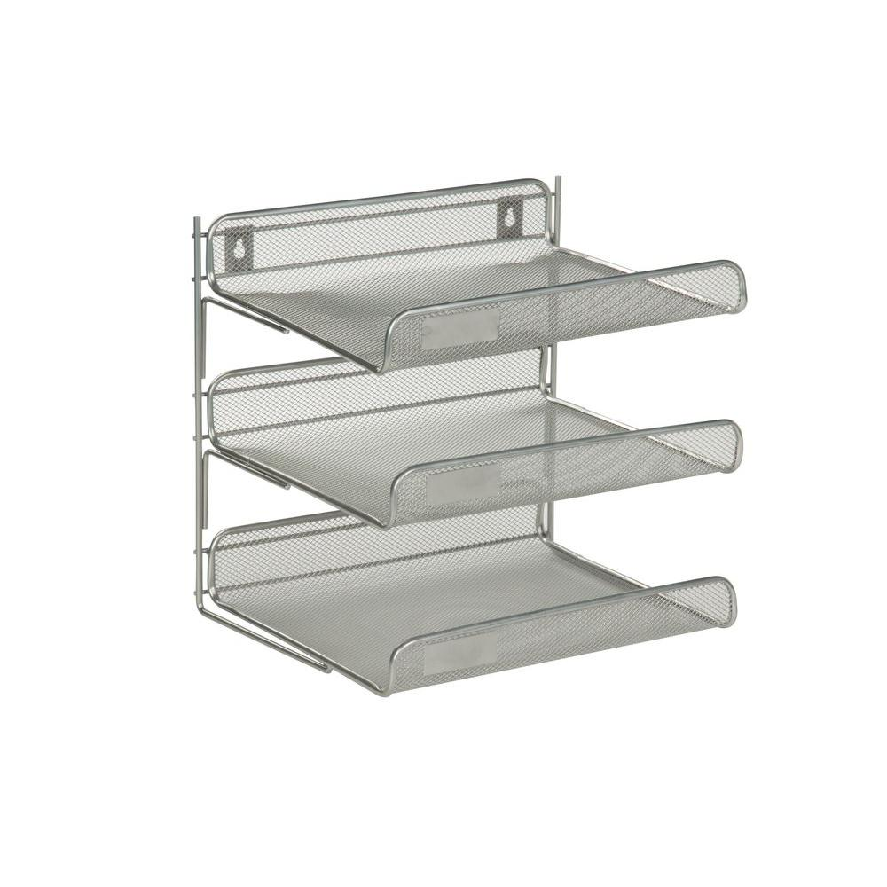 3 Tier Steel Desk Organizer In Silver