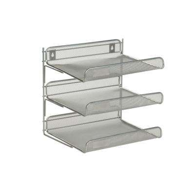 3-Tier Steel Desk Organizer in Silver