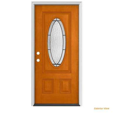 32 in. x 80 in. 3/4 Oval Lite Wendover Saffron Stained Fiberglass Prehung Right-Hand Inswing Front Door