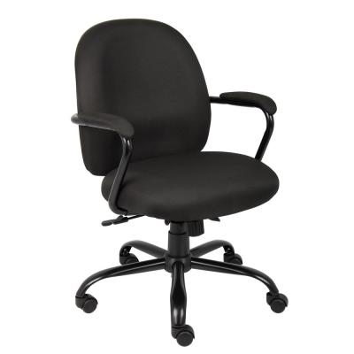 Manager Desk Chair. Black Crepe Fabric. Black Steel Frame and Base. Padded Arms. 300 lb Capacity. Pneumatic lift.