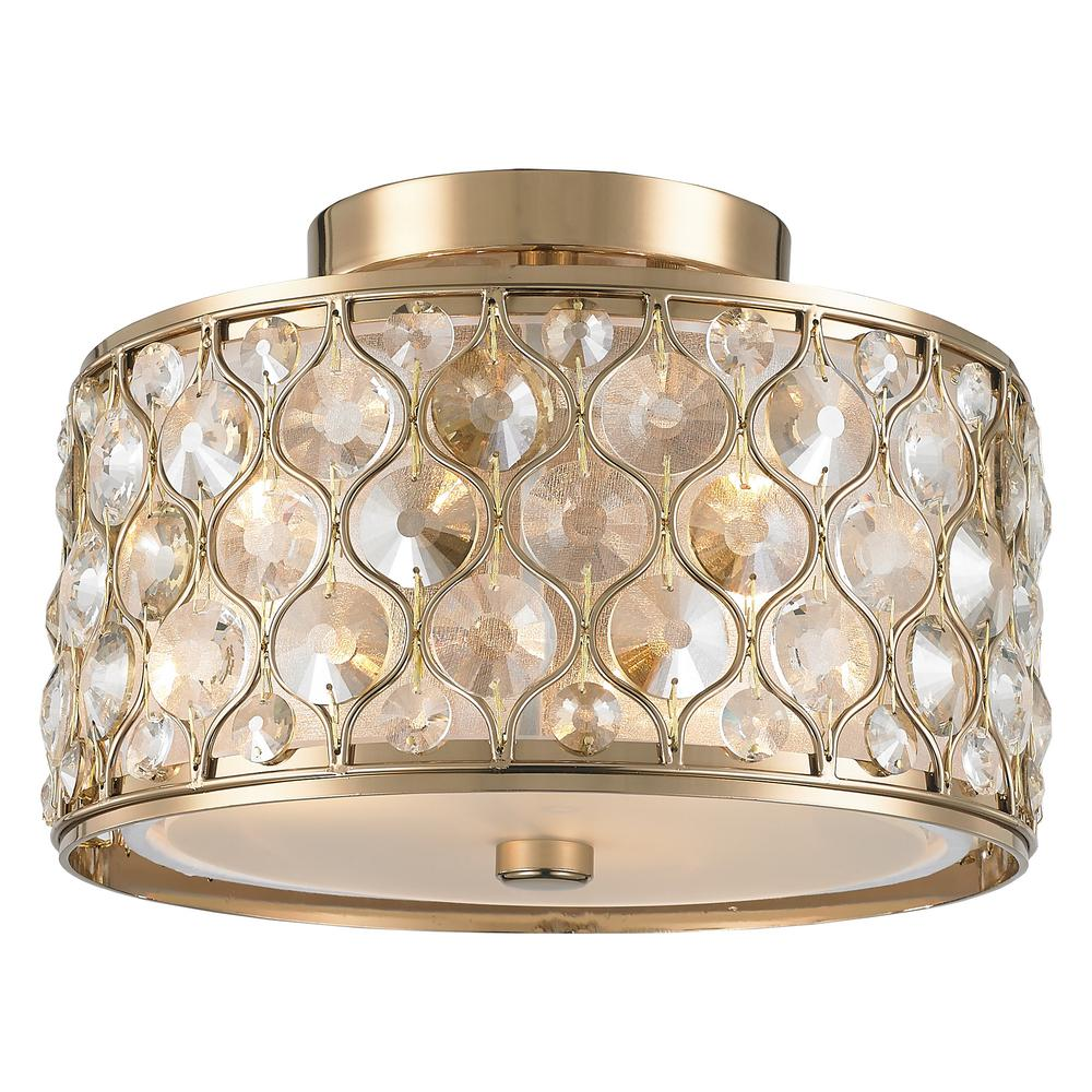 Paris 3-Light Champagne with Clear and Golden Teak Crystal Flushmount