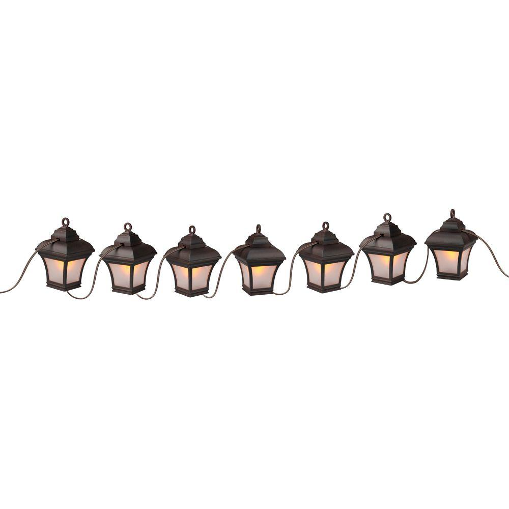 Patio Lights 7 Light Antique Bronze LED Altina String Lanterns