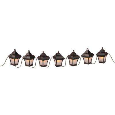 Patio Lights 7-Light Antique Bronze LED Altina String Lanterns