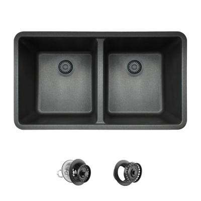 All-in-One Undermount Quartz 32.5 in. 0-Hole Double Bowl Kitchen Sink in Black