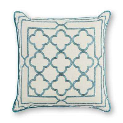 Teal Trefoil Frame 18 in. x 18 in. Decorative Pillow