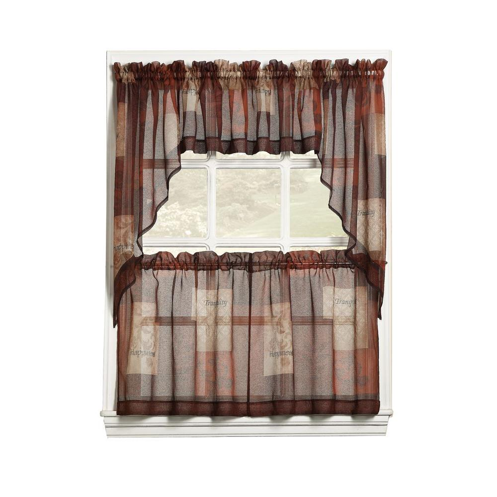 awesome Brown Tier Curtains Part - 2: LICHTENBERG Sheer Multi Eden Printed Textured Sheer Kitchen Curtain Tiers,  56 in. W x