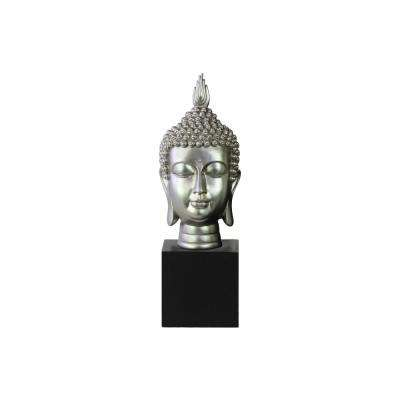 15 in. H Buddha Decorative Sculpture in Gray Gloss Finish