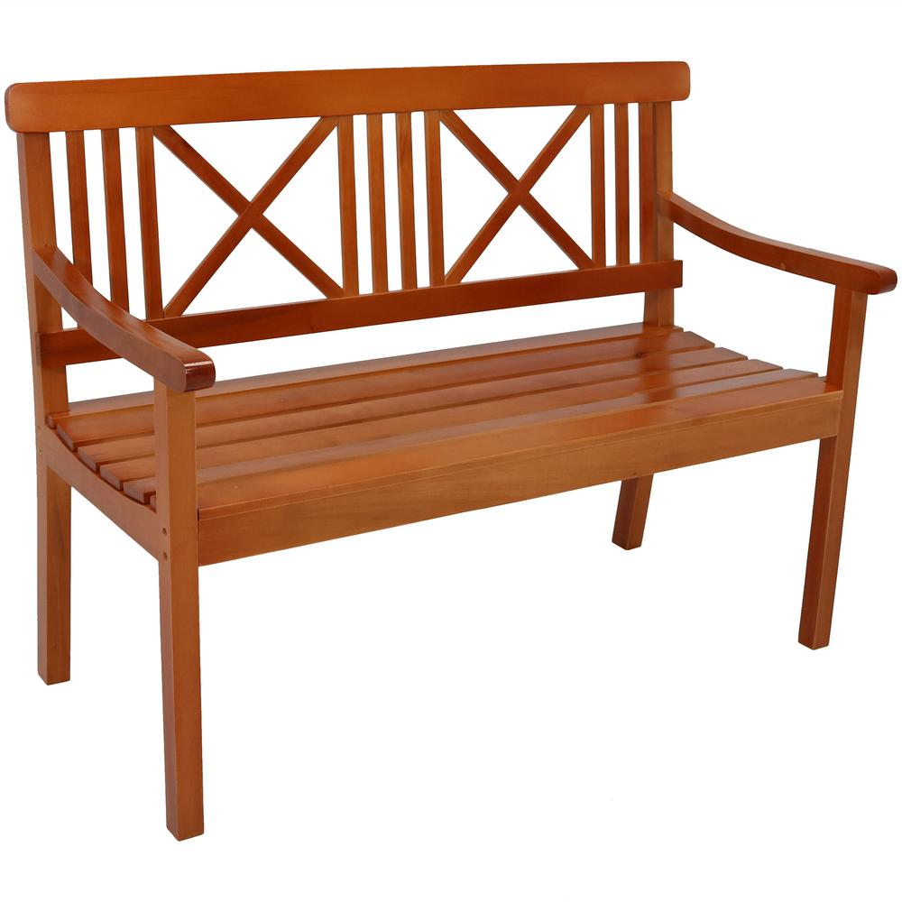 Swell Sunnydaze Decor X Back 47 In 2 Person Brown Wood Outdoor Bench Alphanode Cool Chair Designs And Ideas Alphanodeonline