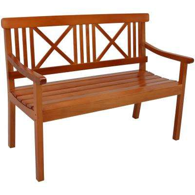 X-Back 47 in. 2-Person Brown Wood Outdoor Bench