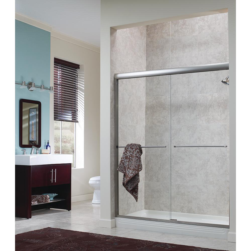 Foremost Cove 42 in. - 46 in. x 65 in. H Frameless Sliding Shower Door in Brushed Nickel with 1/4 in. Clear Glass