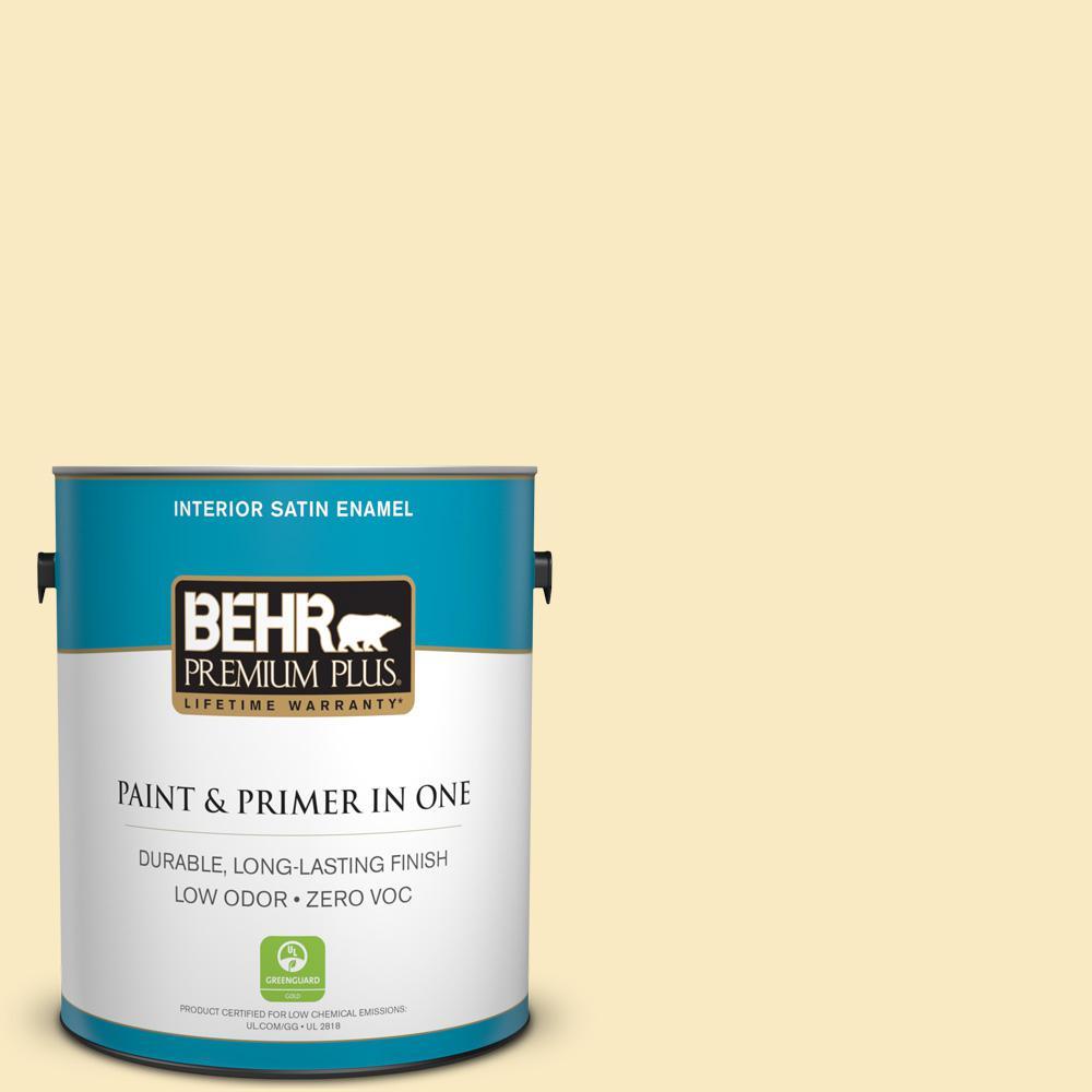 BEHR Premium Plus 1-gal. #340A-2 Rich Cream Zero VOC Satin Enamel Interior Paint