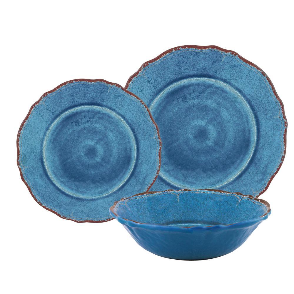 12-Piece Antiqua Blue Dinnerware Set