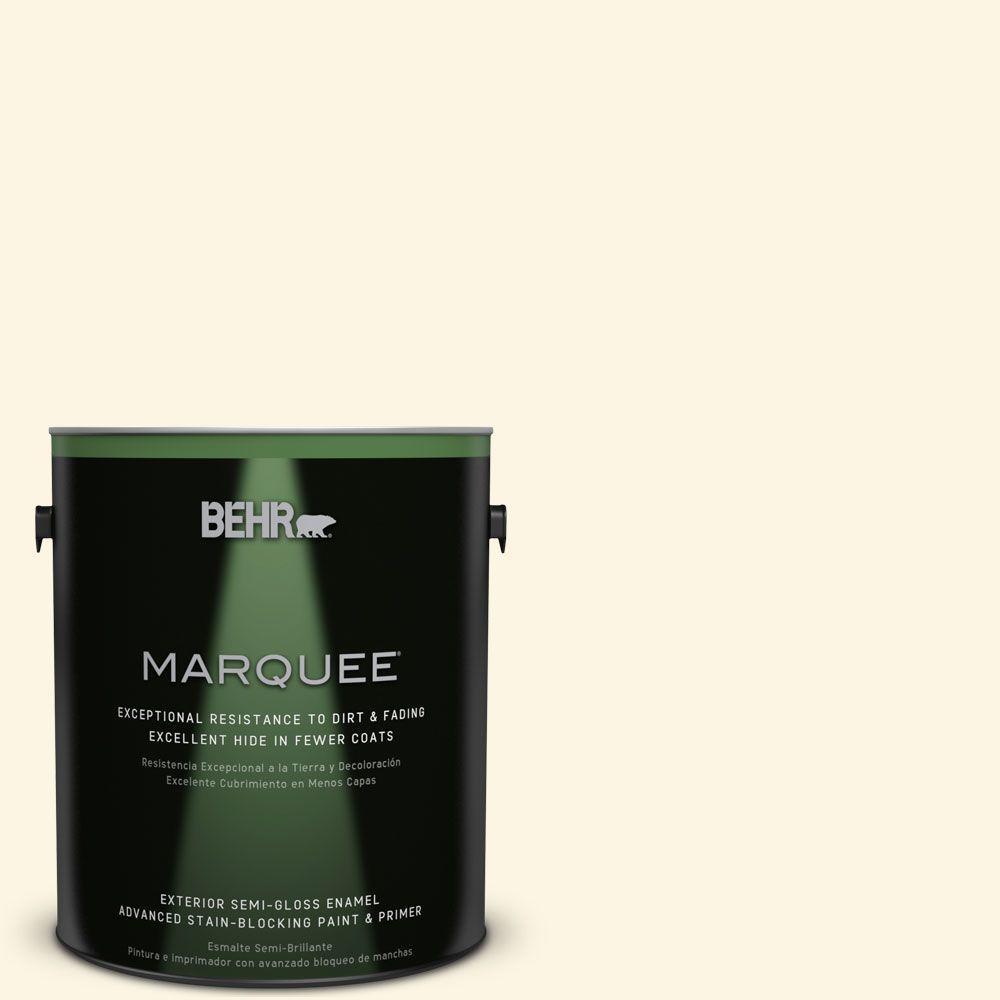 BEHR MARQUEE 1-gal. #P300-1 Lemon White Semi-Gloss Enamel Exterior Paint