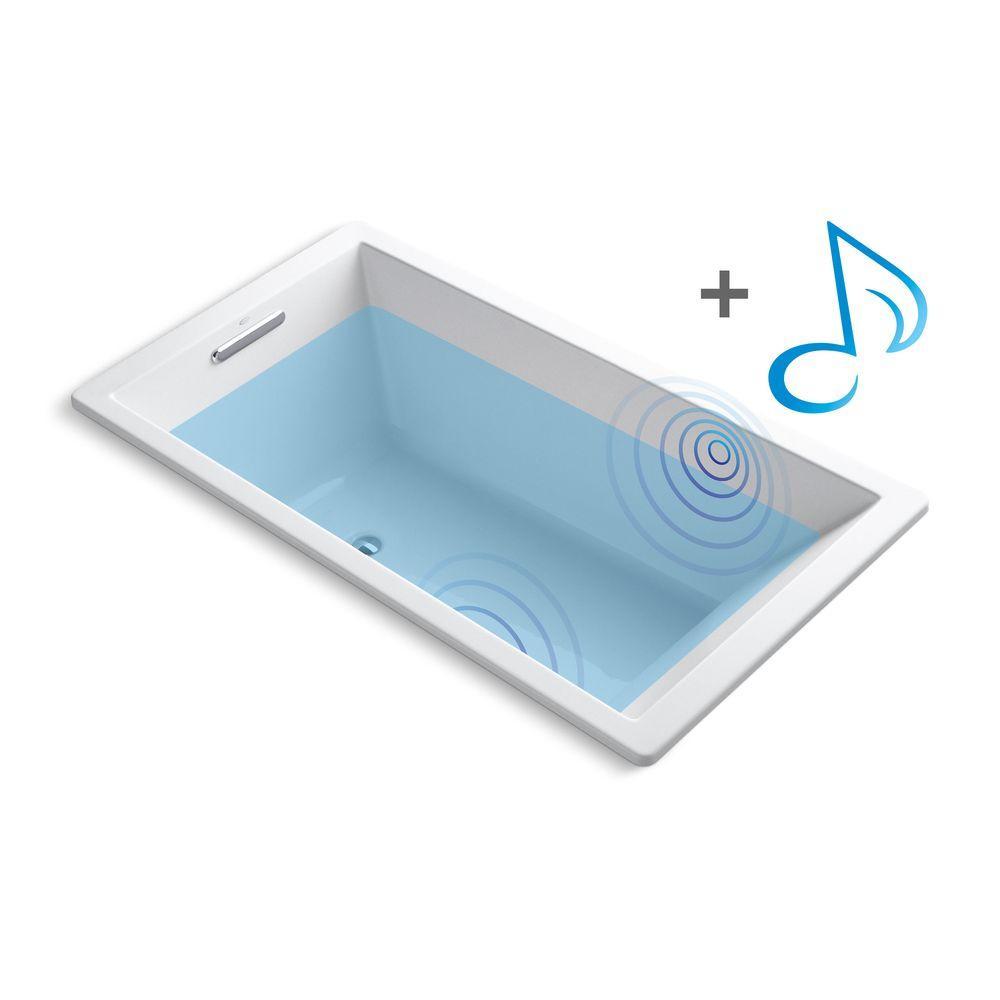 KOHLER Underscore 5.5 ft. Acrylic Rectangular Drop-in Non-Whirlpool Bathtub in White with Wireless Music Kit
