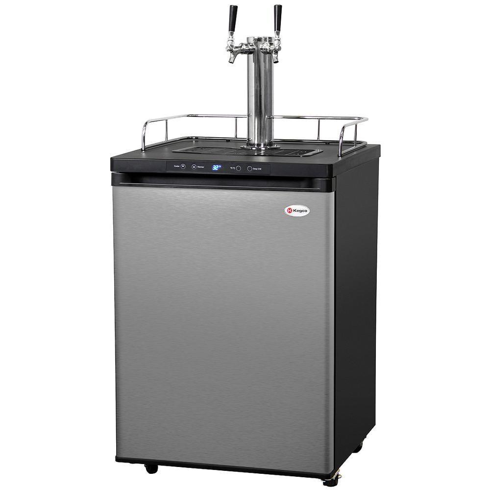 Kegco Full Size Digital Beer Keg Dispenser With Double Tap, Matte Black/silver