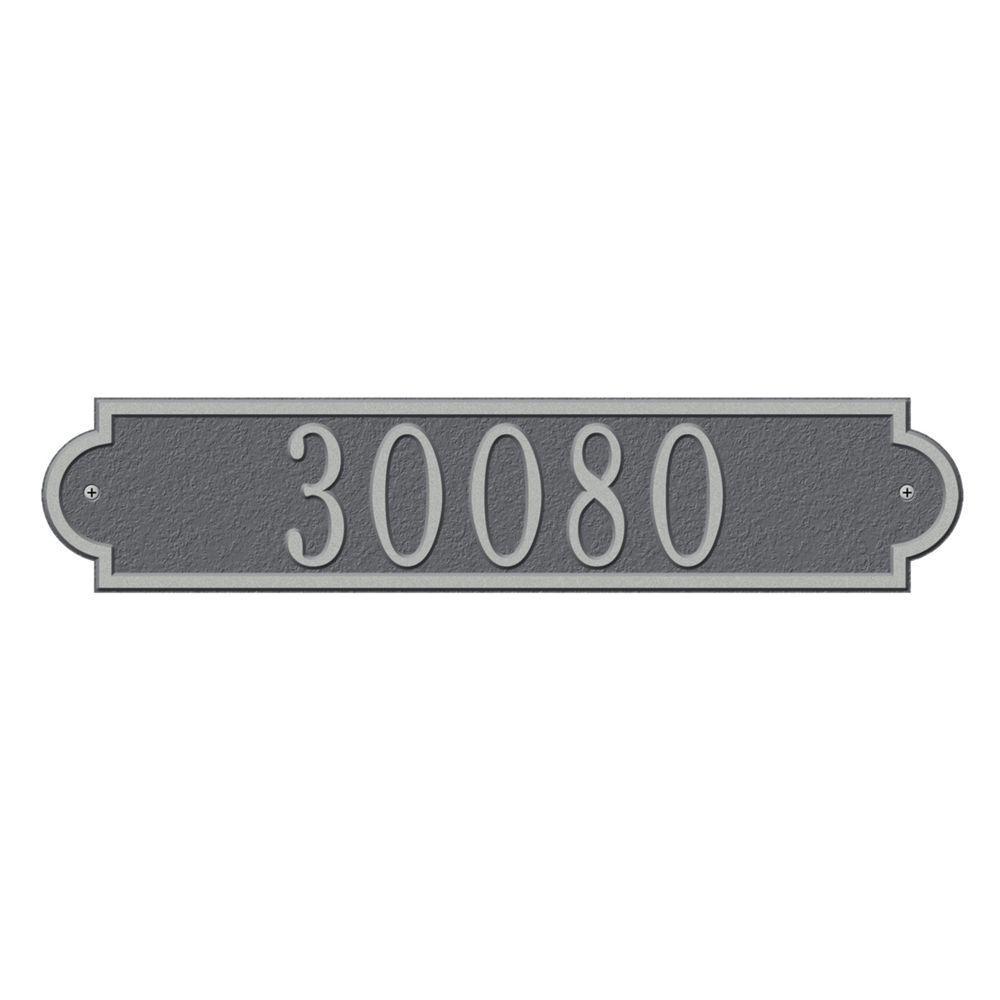 Richmond Rectangular Pewter/Silver Standard Wall One Line Horizontal Address Plaque