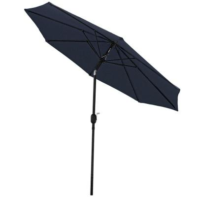 9 ft. Aluminum Market Tilt Patio Umbrella in Navy Blue