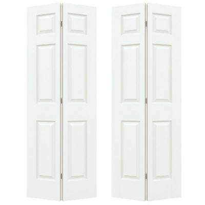72 in. x 80 in. Colonial White Painted Textured Molded Composite MDF Closet Bi-fold Door