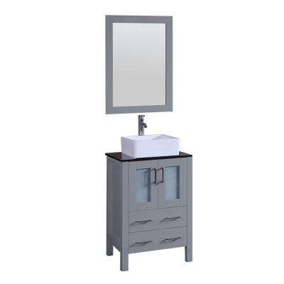 24 in. Single Vanity in Gray with Tempered Glass Vanity Top in Black with White Basin and Mirror