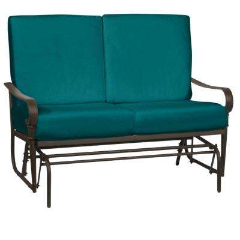 Oak Cliff Brown Steel Outdoor Patio Glider with Sunbrella Peacock Blue-Green Cushions
