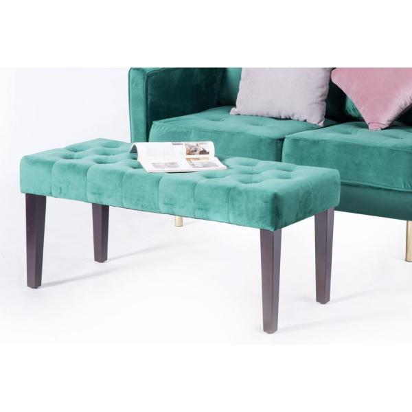 Velvet Tufted Green Modern Ottoman Coffee Table Bench Qi003536g The Home Depot