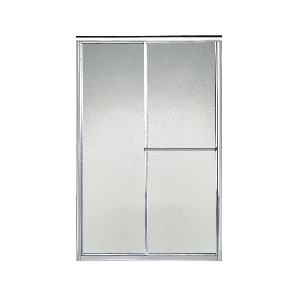 Deluxe 46 in. x 65-1/2 in. Framed Sliding Shower Door in Silver with Handle