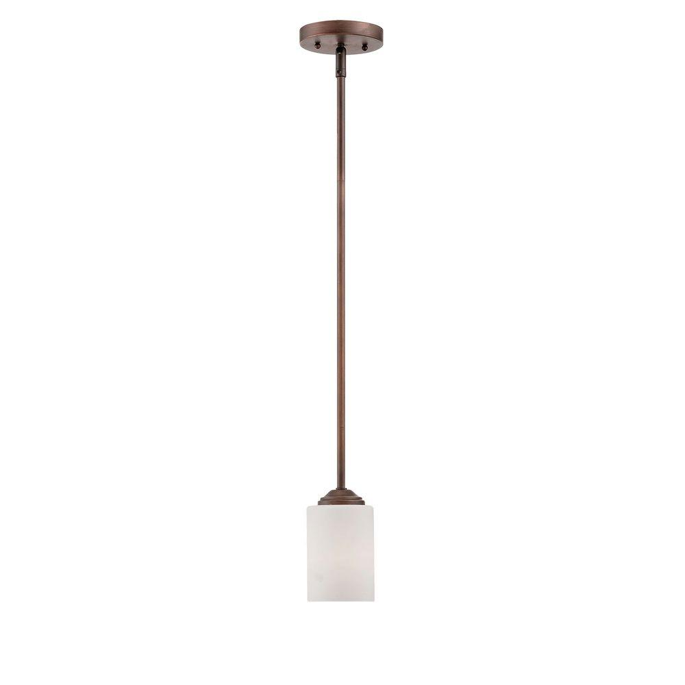 Millennium Lighting 1-Light Rubbed Bronze Mini Pendant with Etched ...