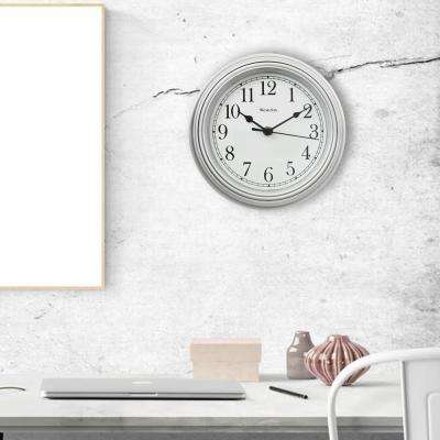 9 in. Simplicity Wall Clock with Bezel and Silver