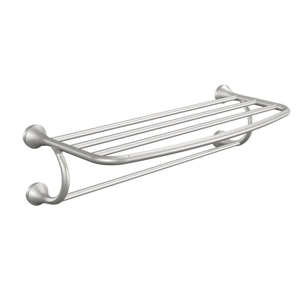 marvelous Brushed Nickel Bathroom Shelving Unit Part - 1: MOEN Eva 10 in. L x 7 in. H x 26 in. W