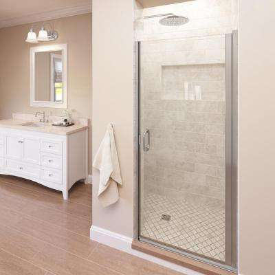 Infinity 34 in. x 76 in. Semi-Frameless Hinged Shower Door in Silver with Clear Glass