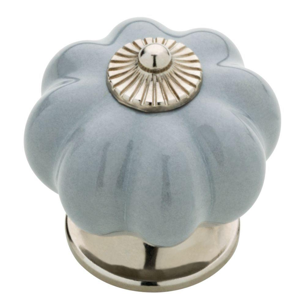 1-1/2 in. Gray Ceramic Melon Cabinet Knob